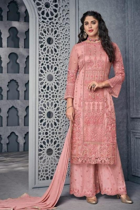 Pink Embroidered Straight Cut Suit