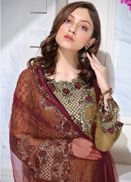 GOLD AND MAROON EMBROIDERED PAKISTANI STYLE SUIT