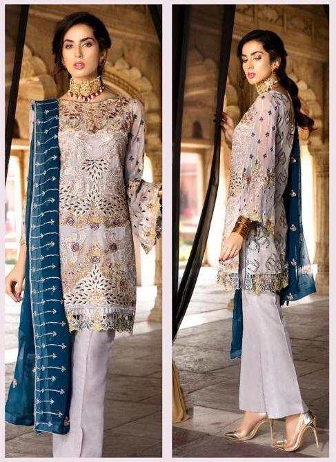 Light Grey Embroidered Pakistani style suit.