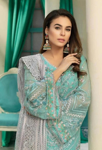 Turquoise Embroidered pakistani style suit