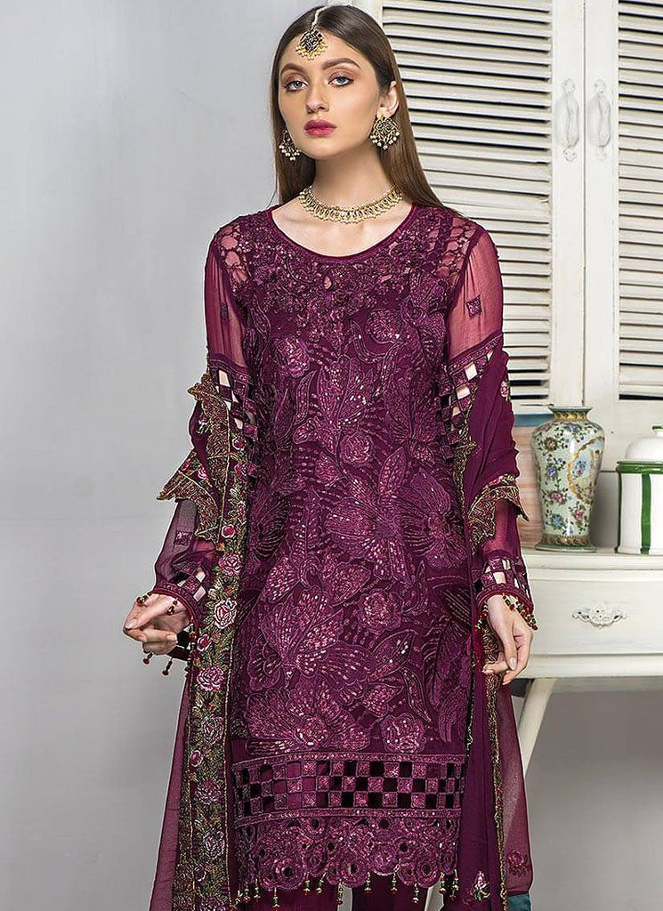 PURPLE EMBROIDERED PAKISTANI STYLE SUIT