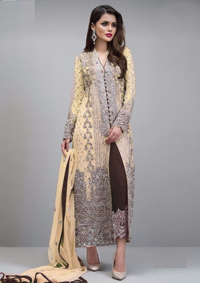YELLOW EMBROIDERED PAKISTANI STYLE SUIT