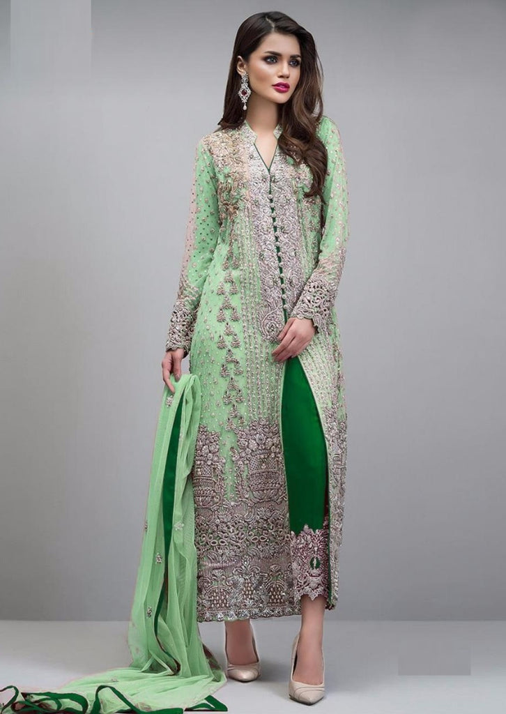 LIGHT GREEN EMBROIDERED PAKISTANI STYLE SUIT