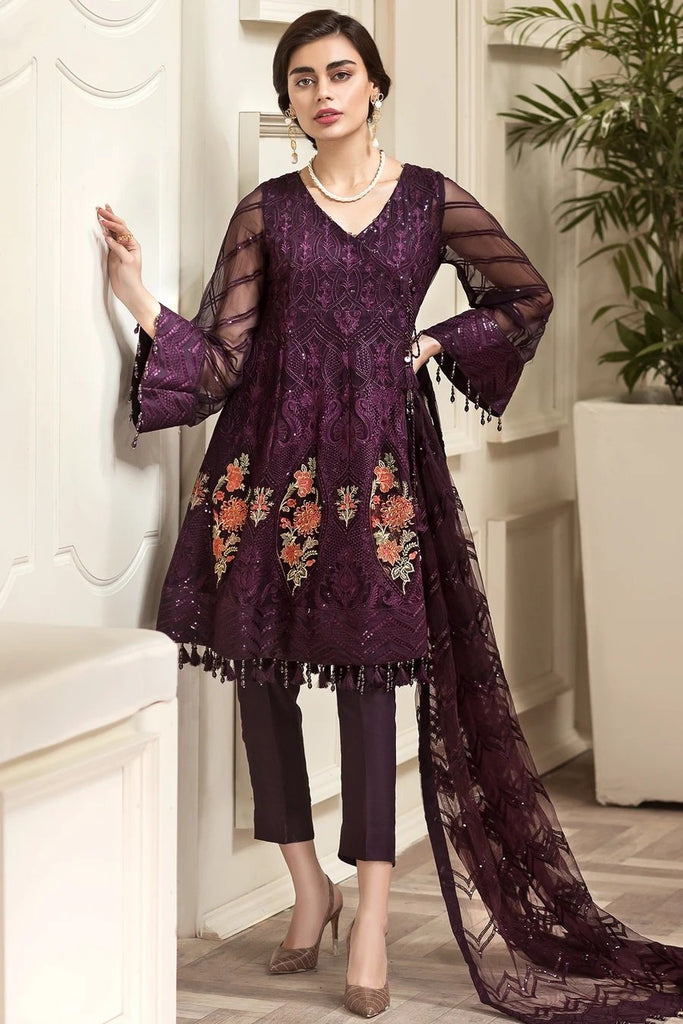 DARK PURPLE EMBROIDERED PAKISTANI STYLE SUIT