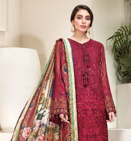 MAROON EMBROIDERED PAKISTANI STYLE SUIT