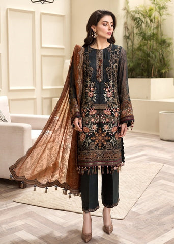 DARK GREY EMBROIDERED PAKISTANI STYLE SUIT