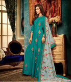 Silk Blue Embroidered Abaya style suit