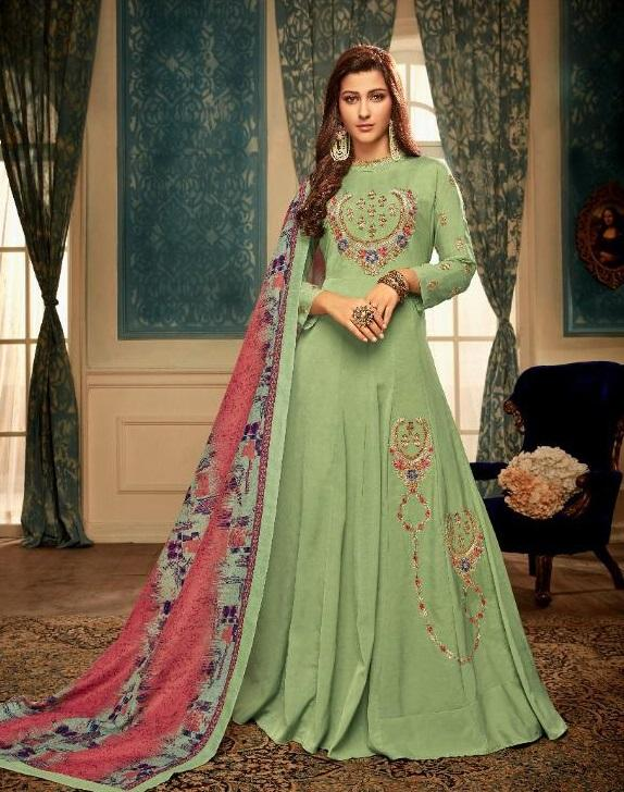Light Green Embroidered Abaya style suit