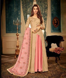 Beige and Pink Embroidered Abaya style suit