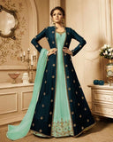 Sea Green and Blue Embroidered Jacket Style Anarkali