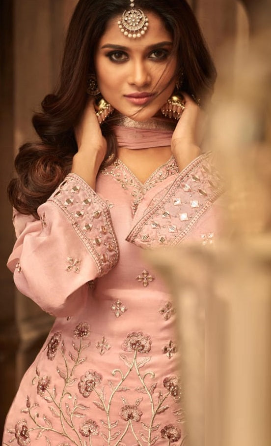 Light Pink Fancy Sharara Suit