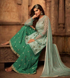 Mint Blue And Green Fancy Palazzo Suit