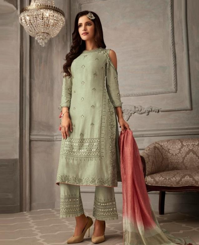 Mint Green Cold Shoulder Designer Palazzo Suit