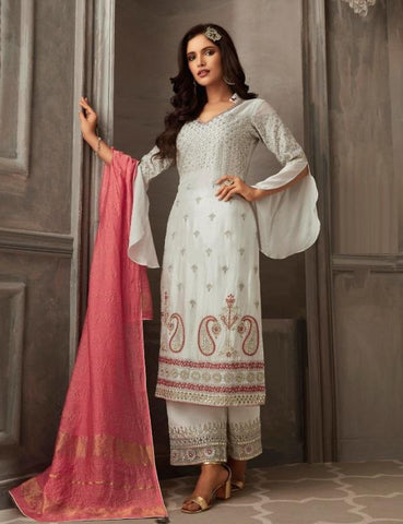 White Bell Sleeve Designer Palazzo Suit