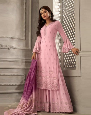 Pink Bell Sleeve Designer Palazzo Suit