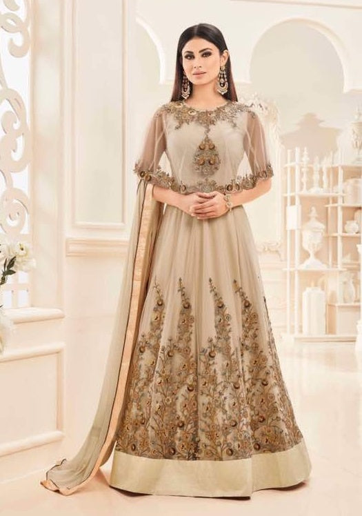 BEIGE EMBROIDERED CAPE STYLE ANARKALI