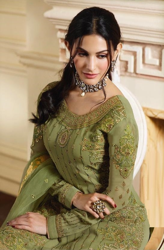 Light Green Pure Satin With Georgette Sharara Suit