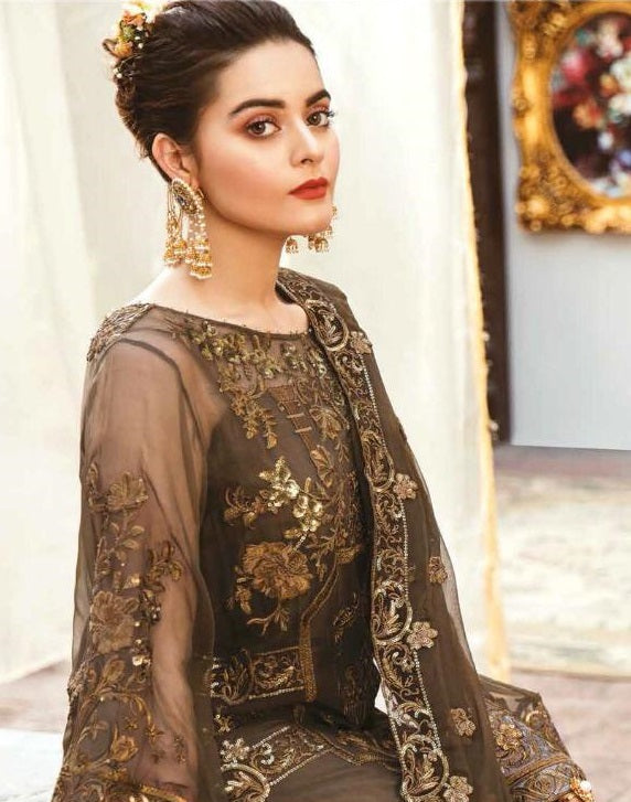 DARK BROWN EMBROIDERED PAKISTANI STYLE SUIT