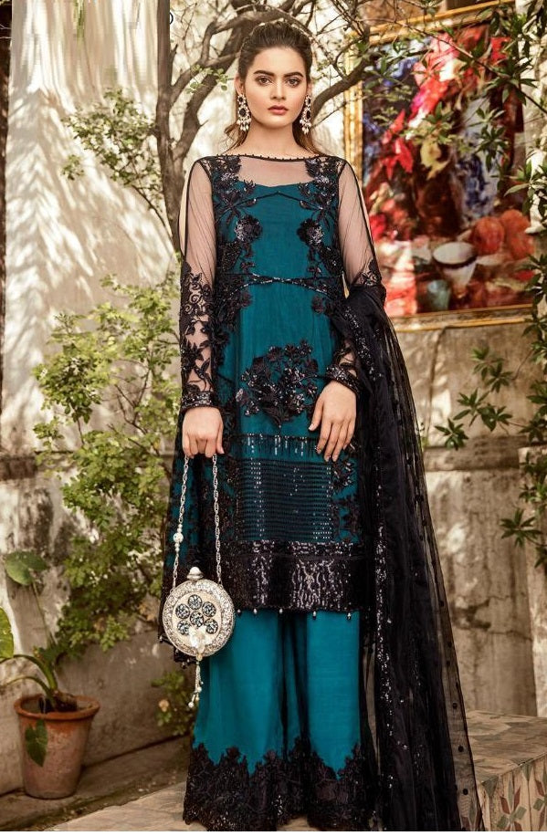 TURQUOISE BLUE EMBROIDERED PAKISTANI STYLE SUIT