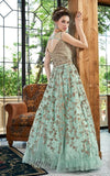 AQUA BLUE EMBROIDERED ANARKALI GOWN