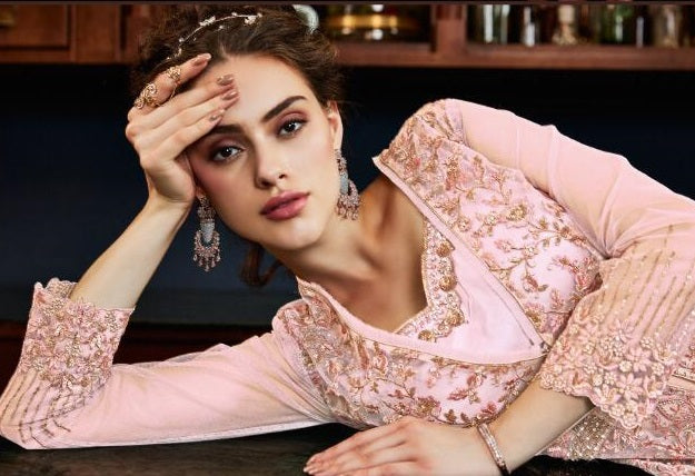 PINK EMBROIDERED JACKET STYLE SUIT