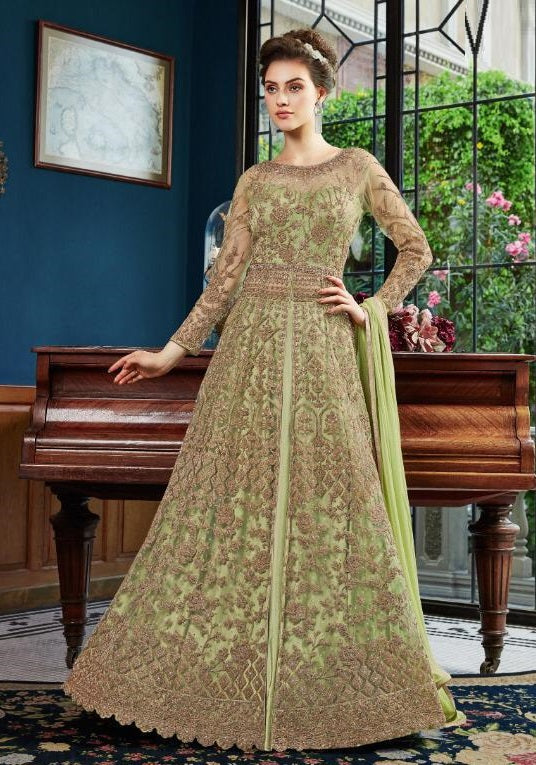 PASTEL GREEN EMBROIDERED LEHENGA ANARKALI