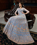GREY BLUE EMBROIDERED ANARKALI STYLE SUIT