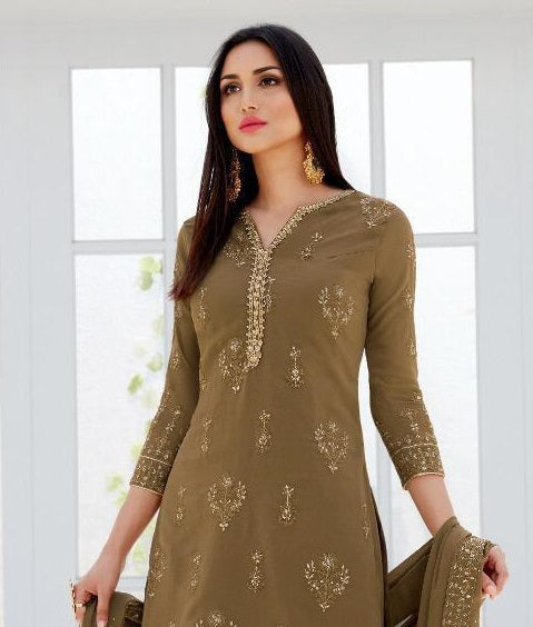BROWN EMBROIDERED GHARARA SUIT