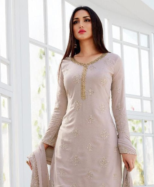 LAVENDER EMBROIDERED GHARARA SUIT