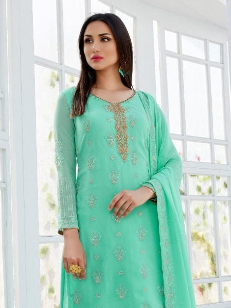 MINT GREEN EMBROIDERED GHARARA SUIT