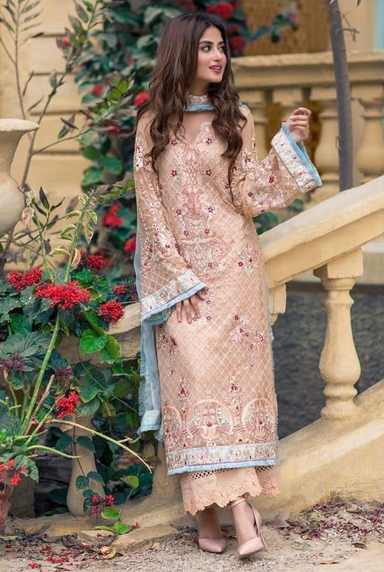 PEACH EMBROIDERED PAKISTANI STYLE SUIT