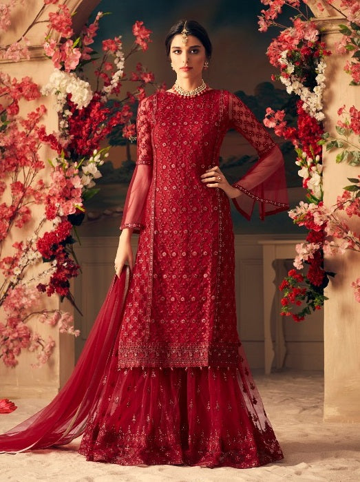 RED FLORAL EMBROIDERED NET SHARARA SUIT