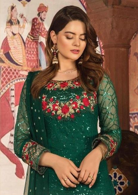 Dark Green Embroidered Pakistani style suit