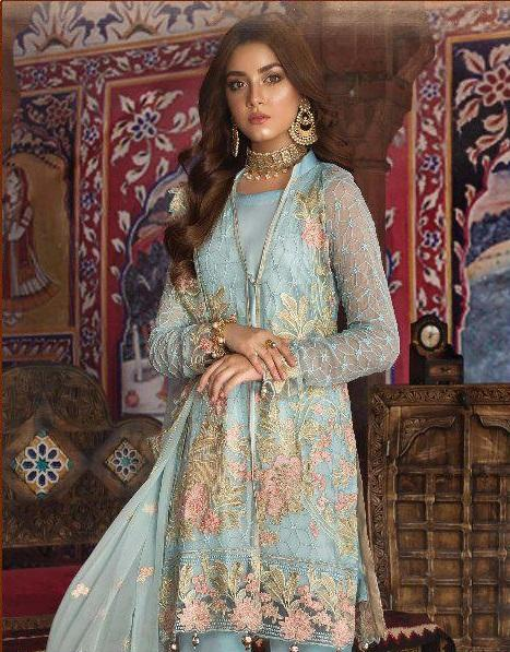 Mint Blue Embroidered Pakistani style suit