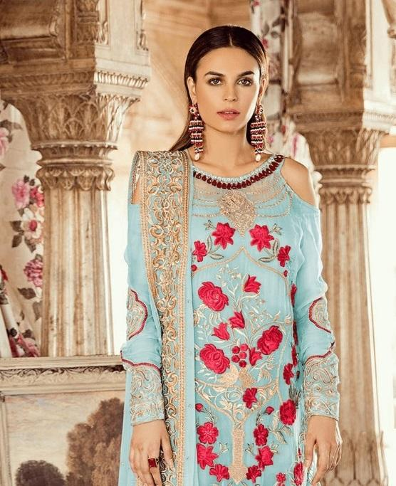 SKY BLUE EMBROIDERED PAKISTANI STYLE SUIT
