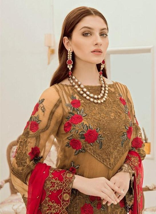 GOLDEN EMBROIDERED PAKISTANI STYLE SUIT