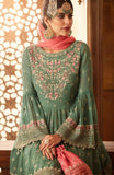 Green and Pink Embroidered Sharara Suit