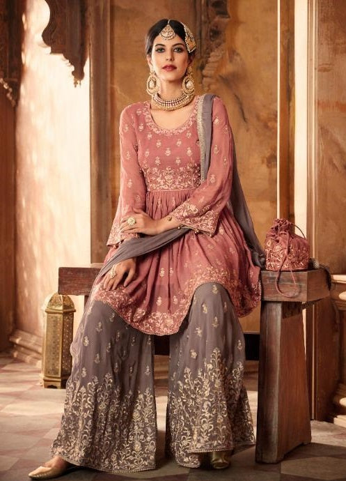 Pink and Grey Embroidered Sharara Suit