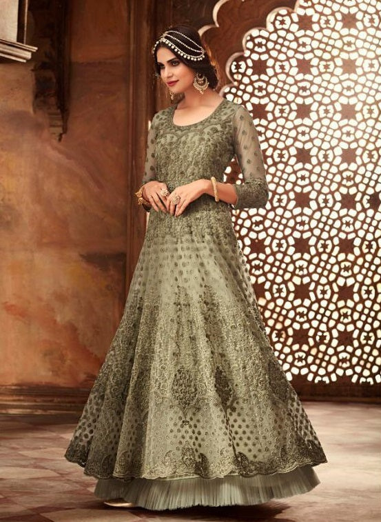 PISTA GREEN HEAVY EMBROIDERED NET ANARKALI SUIT