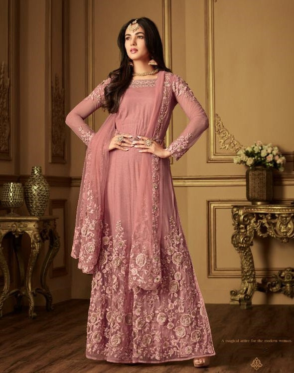 PINK HEAVY EMBROIDERED GOWN