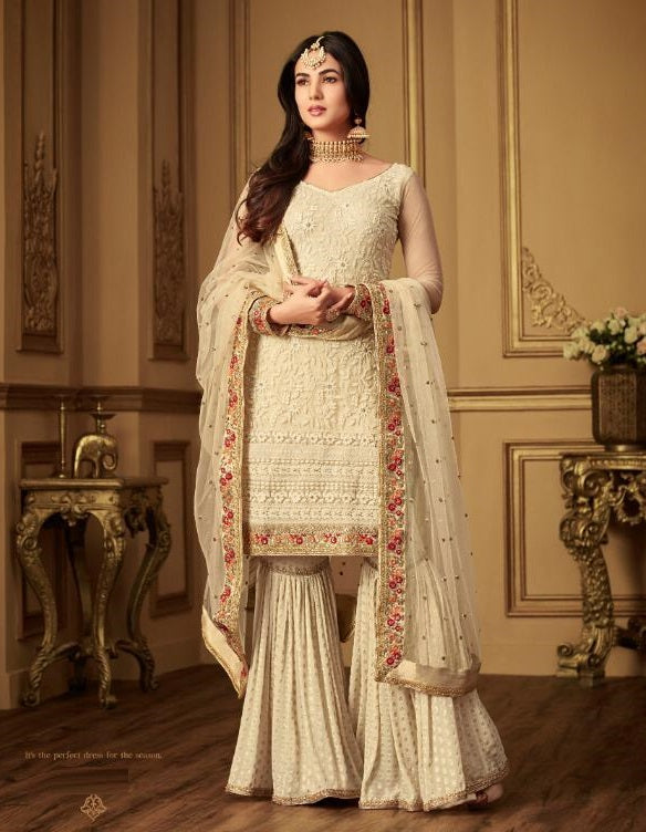 CREAM EMBROIDERED GHARARA STYLE SUIT