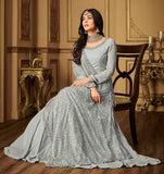 LIGHT GREY EMBROIDERED GOWN