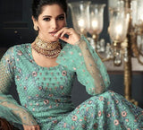 MINT GREEN EMBROIDERED ANARKALI STYLE SUIT