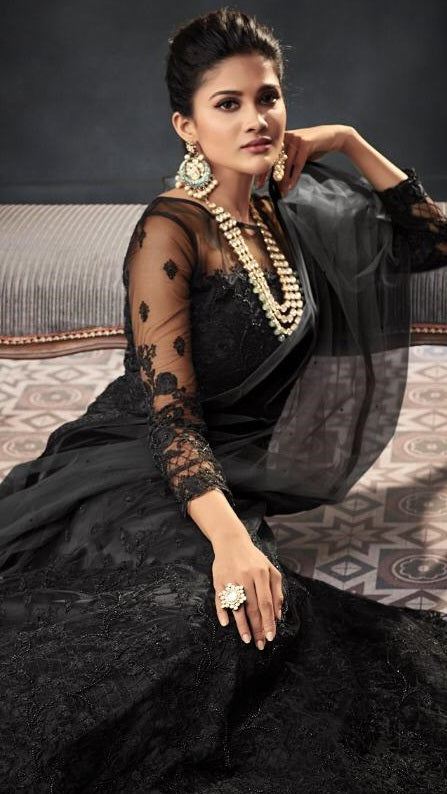 BLACK EMBROIDERED ANARKALI STYLE SUIT