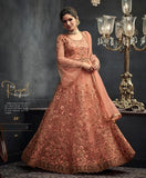 PEACH EMBROIDERED ANARKALI STYLE SUIT