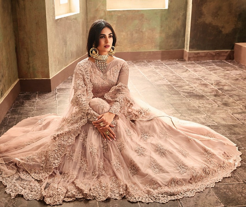 LIGHT PINK EMBROIDERED ANARKALI STYLE SUIT