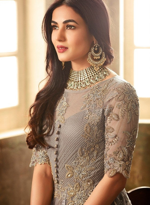 GREY EMBROIDERED ANARKALI STYLE SUIT