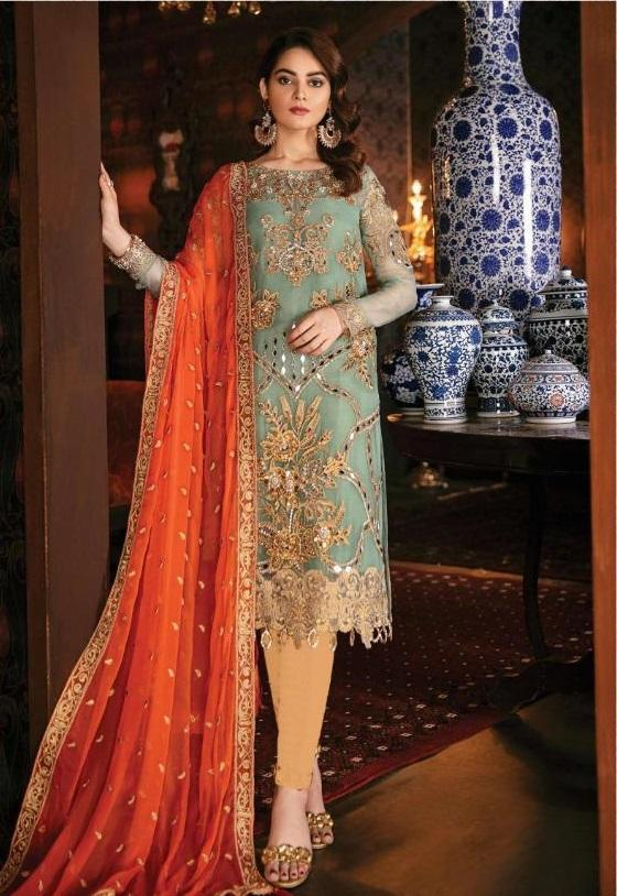 MINT GREEN EMBROIDERED PAKISTANI STYLE SUIT