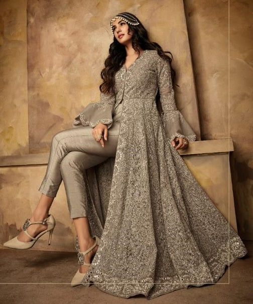 GREY EMBROIDERED ANARKALI SUIT