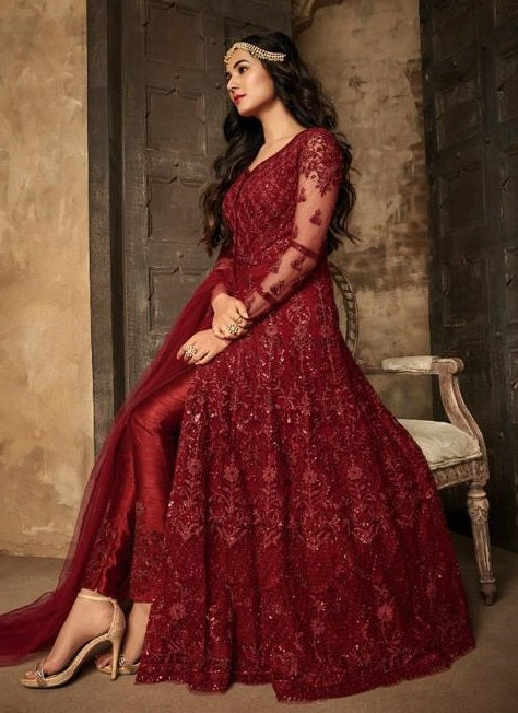 MAROON EMBROIDERED PANT STYLE ANARKALI